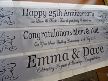 Silver Wedding Anniversary Personalised Banner